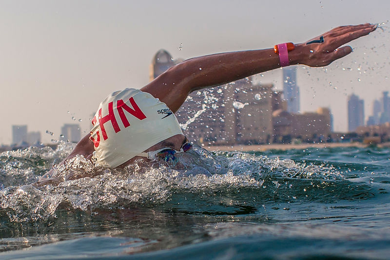 Qatar, Doha - 2019 October 13:Open Water Swim Race 5K at Katara Beach during day three of the 1st ANOC World Beach Games  Photo by Pelagia Karanikola / Laurel Photo Services