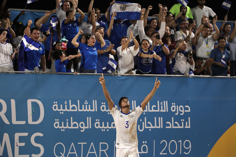 Doha, Qatar - October 13, 2019: Japan vs El Salvador in Men's Beach Soccer Preliminary Group D at Katara Beach during day three of the 1st ANOC World Beach Games Qatar 2019 (Photo Konstantinos Tsakalidis / Laurel Photo Services)