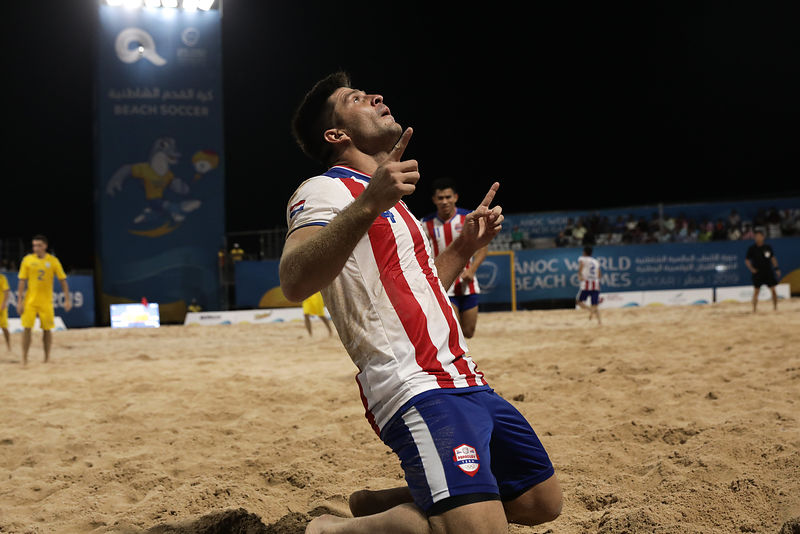 Doha, Qatar - October 13, 2019: Paraguay vs Ukraine in Men's Beach Soccer Preliminary Group C at Katara Beach during day three of the 1st ANOC World Beach Games Qatar 2019 (Photo Konstantinos Tsakalidis / Laurel Photo Services)